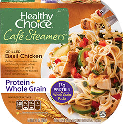Dr. Gourmet reviews the Grilled Basil Chicken from Healthy Choice's Cafe Steamers line