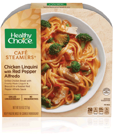 Dr. Gourmet reviews the Chicken Linguine with Red Pepper Alfredo from Healthy Choice