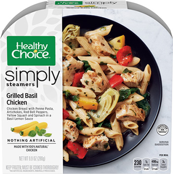 the Dr. Gourmet tasting panel reviews the Grilled Basil Chicken from Healthy Choice's Simple Steamers line