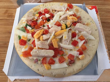The Chicken Ranch Club Flatbread before cooking