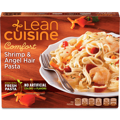 the Dr. Gourmet tasting panel reviews the Shrimp with Angel Hair Pasta from Lean Cuisine
