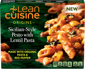 the Dr. Gourmet tasting panel reviews the Sicilian-Style Pesto with Lentil Pasta from Lean Cuisine's Origins line