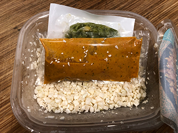 contents of the package of Cauli-Rice Curry from Mann's Nourish Bowls