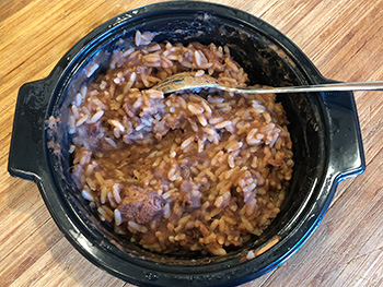 here's what the Red Beans & Sausage meal from Richard's Cajun Favorites actually looks like