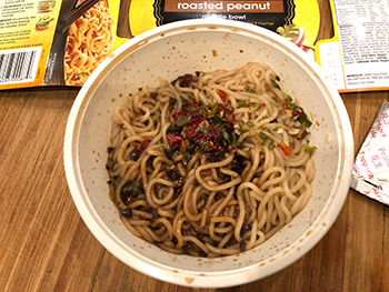 Simply Asia's Roasted Peanut Noodle Bowl after assembly and cooking