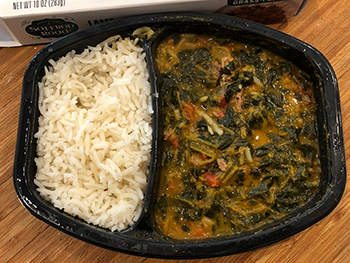 Dr. Gourmet reviews the Lamb Saag - as cooked - from Saffron Road Food