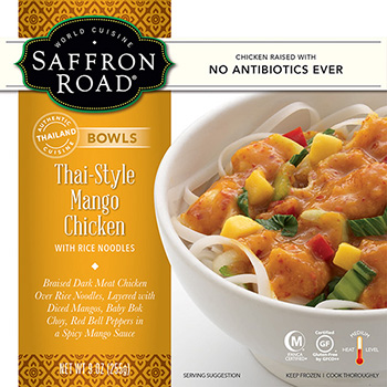 The Dr. Gourmet tasting panel reviews the Thai-Style Mango Chicken Bowl from Saffron Road Food