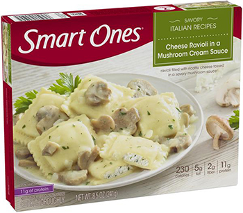the Dr. Gourmet tasting panel reviews the Weight Watchers' Smart Ones Cheese Ravioli in a Mushroom Cream Sauce